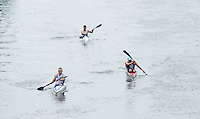 25 MAY 2014 - BRIGG, GBR - Mat Stephenson (GBR) (left) of Great Britain leads countryman Steve Clark (GBR) (back) and Leos Rousavy (CZE) of the Czech Republic in the kayak during the World Quadrathlon Federation 2014 Middle Distance World Championships at the Brigg Bomber in Brigg in Lincolnshire, Great Britain (PHOTO COPYRIGHT © 2014 NIGEL FARROW, ALL RIGHTS RESERVED)