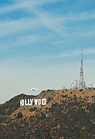 Space shuttle Endeavour over Hollywood Sign, Los Angeles, CA