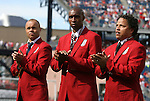 04 June 2011: 2011 National Soccer Hall of Fame Inductees Earnie Stewart (left), Eddie Pope, and Cobi Jones (right) were honored before the game. The Spain Men's National Team defeated the United States Men's National Team 4-0 at Gillette Stadium in Foxborough, Massachusetts in an international friendly soccer match.