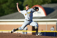 West Virginia Black Bears relief pitcher Dylan Prohoroff (32) during a game against the Batavia Muckdogs on August 21, 2016 at Dwyer Stadium in Batavia, New York.  West Virginia defeated Batavia 6-5.  (Mike Janes/Four Seam Images)