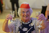Pictured: Dilys Sutton, 87 from Talbot Green. Wednesday 28 November 2018<br /> Re: National Lottery millionaires from south Wales and the south west of England have hosted a glitzy Rat Pack-inspired Christmas party for an older people's music group at The Bear Hotel in Cowbridge, Wales, UK.