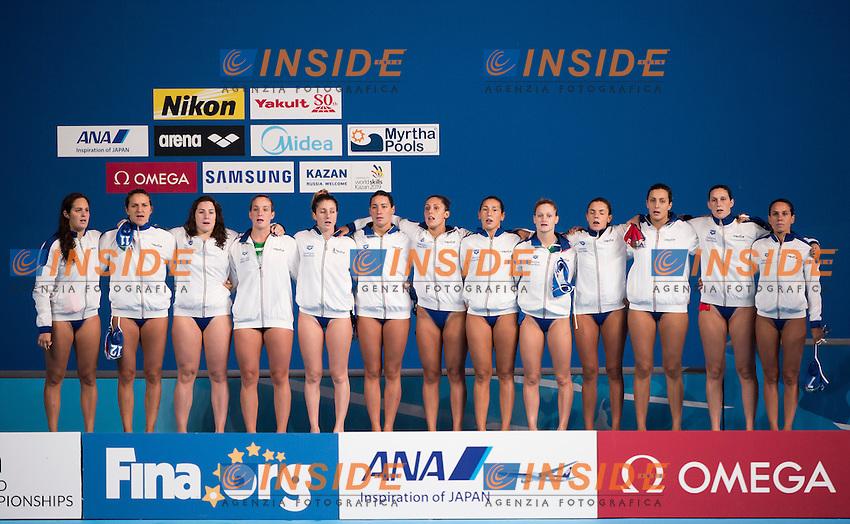 Team ITALY bronze medal<br /> AUSTRALIA vs ITALY <br /> AUS vs ITA<br /> Waterpolo - Women's classification 4th-3rd place match<br /> Day 15 07/08/2015<br /> XVI FINA World Championships Aquatics Swimming<br /> Kazan Tatarstan RUS July 24 - Aug. 9 2015 <br /> Photo Giorgio Perottino/Deepbluemedia/Insidefoto