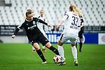 16.03.2019, Stadion Essen, Essen, GER, AFBL, SGS Essen vs TSG 1899 Hoffenheim, DFL REGULATIONS PROHIBIT ANY USE OF PHOTOGRAPHS AS IMAGE SEQUENCES AND/OR QUASI-VIDEO<br /> <br /> im Bild | picture shows:<br /> Tanja Pawollek (FFC Frankfurt #31) im Duell mit Turid Knaak (SGS Essen #33), <br /> <br /> Foto &copy; nordphoto / Rauch