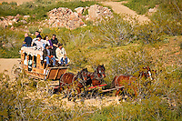 Stagecoach ride along Route 66 in the Black Mountains near Oatman, Arizona