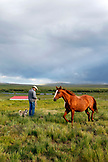 USA, Wyoming, Encampment, a cowboy prepares to catch a horse, Big Creek Ranch