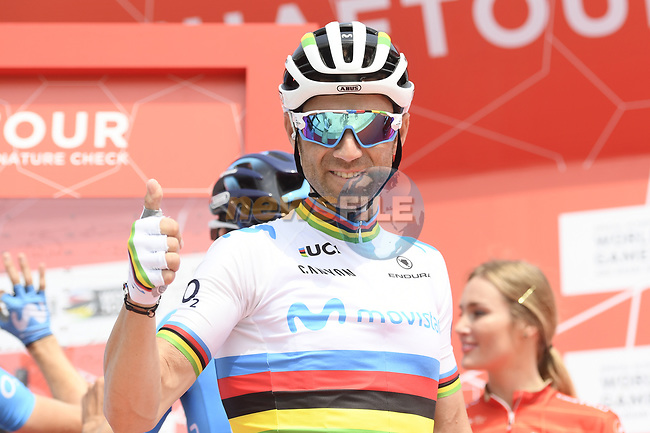 World Champion Alejandro Valverde (ESP) Movistar Team at sign on before the start of Stage 2 of the 2019 UAE Tour, running 184km form Yas Island Yas Mall to Abu Dhabi Breakwater Big Flag, Abu Dhabi, United Arab Emirates. 25th February 2019.<br /> Picture: LaPresse/Fabio Ferrari | Cyclefile<br /> <br /> <br /> All photos usage must carry mandatory copyright credit (© Cyclefile | LaPresse/MFabio Ferrari)