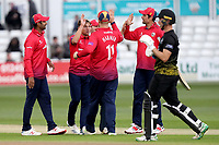 Aaron Beard of Essex is congratulated on taking the wicket of Graeme van Buuren during Essex Eagles vs Gloucestershire, Royal London One-Day Cup Cricket at The Cloudfm County Ground on 7th May 2019