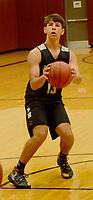 Graham Thomas/Siloam Sunday<br /> Siloam Springs senior boys basketball player Carson Wleklinski lines up a shot during practice inside the Panther Den on Thursday, July 25.