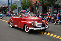 Red 1948 Chevrolet Fleetmaster classic car, Independence Day Parade 2016, Burien, Washington, USA.