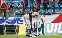 SANTA MARTA - COLOMBIA, 11-05-2019: Jugadores de Pasto celebran después de anotar el primer gol de su equipo durante el partido por la fecha 1, cuadrangulares semifinales, de la Liga Águila I 2019 entre Unión Magdalena y Deportivo Pasto jugado en el estadio Sierra Nevada de la ciudad de Santa Marta. / Players of Pasto celebrate after scoring the first goal of their team during match for the date 1 of the semifinal quadrangular as part Aguila League I 2019 between Union Magdalena and Deportivo Pasto played at Sierra Nevada stadium in Santa Marta city. Photo: VizzorImage / Gustavo Pacheco / Cont