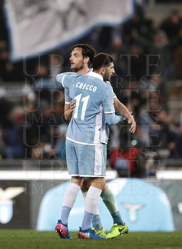 Calcio, Serie A: Roma, stadio Olimpico, 1marzo 2017.<br /> Lazio's Marco Parolo (l) and Luca Crecco (r) celebrates after winning the Italian TIM Cup 1st leg semifinal football match between Lazio and AS Roma at Rome's Olympic stadium, on March 1, 2017.<br /> UPDATE IMAGES PRESS/Isabella Bonotto