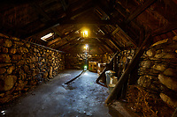 Animal quarters in the original interior of The Blackhouse, 24 Arnol, Bragar, Isle of Lewis, Scotland.