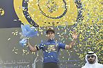 Dylan Groenewegen (NED) Team Lotto NL-Jumbo retains the race lead after Stage 2 The Ras Al Khaimah Stage of the Dubai Tour 2018 the Dubai Tour&rsquo;s 5th edition, running 190km from Skydive Dubai to Ras Al Khaimah, Dubai, United Arab Emirates. 7th February 2018.<br /> Picture: LaPresse/Fabio Ferrari | Cyclefile<br /> <br /> <br /> All photos usage must carry mandatory copyright credit (&copy; Cyclefile | LaPresse/Fabio Ferrari)