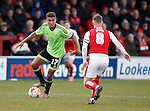 Dominic Calvert-Lewin of Sheffield Utd  takes on Jimmy Ryan of Fleetwood Town  - English League One - Fleetwood Town vs Sheffield Utd - Highbury Stadium - Fleetwood - England - 5rd March 2016 - Picture Simon Bellis/Sportimage
