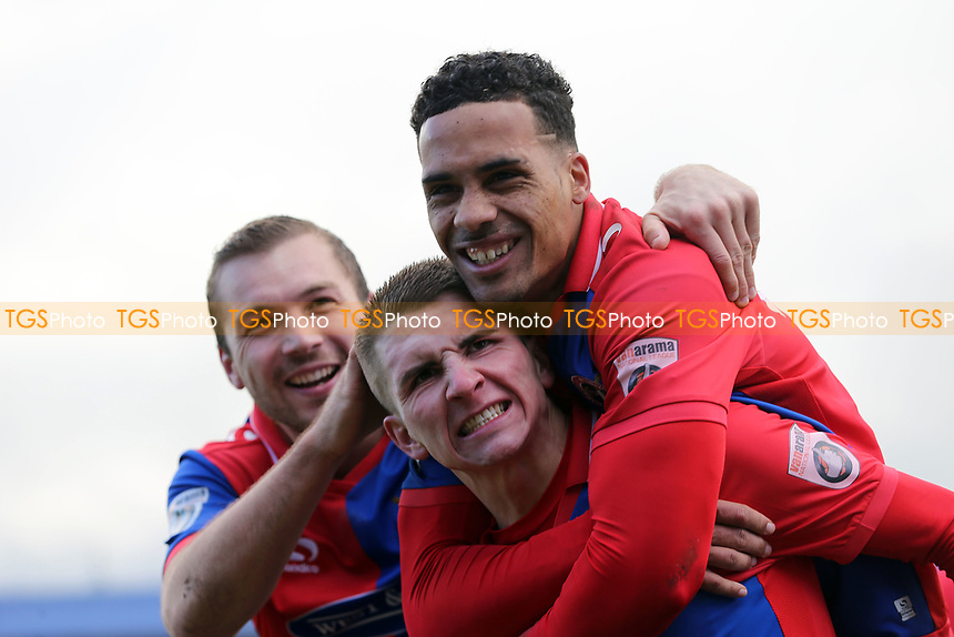 Sam Ling of Dagenham is congratulated after scoring the opening goal during Chester vs Dagenham & Redbridge, Vanarama National League Football at the Lookers Vauxhall Stadium on 25th November 2017