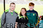 Brendan Lynch Ciara Griffin and Darragh Lynch Listowel, cheering on Kerry at the football championship semi-final against Clare, held at Fitzgerald Stadium, Killarney, on Sunday.