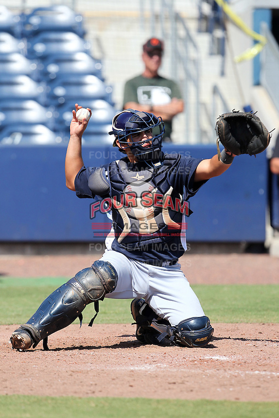Tampa Bay Rays catcher Jesus Araiza #90 during an Instructional League game against the Baltimore Orioles at Charlotte County Sports Park on October 7, 2011 in Port Charlotte, Florida.  (Mike Janes/Four Seam Images)