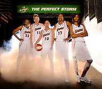 The Seattle Storm high profile starting five (from left to right) Sheryl Swoopes, Lauren Jackson, Sue Bird, Yolanda Griffith and Swin Cash photographed at Key Arena in Seattle on Thursday  May 15, 2008. (Photo Scott Eklund)