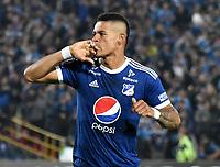 BOGOTA - COLOMBIA – 17 - 04 - 2018: Ayron del Valle jugador de Millonarios (COL), celebra el gol anotado a Deportivo Lara (VEN), durante partido entre Millonarios (COL) y Deportivo Lara (VEN), de la fase de grupos, grupo G, fecha 3 de la Copa Conmebol Libertadores 2018, en el estadio Nemesio Camacho El Campin, de la ciudad de Bogota. / Ayron del Valle player of Millonarios (COL), celebrates a scored goal to Deportivo Lara (VEN), during a match between Millonarios (COL) and Deportivo Lara (VEN), of the group stage, group G, 3rd date for the Conmebol Copa Libertadores 2018 in the Nemesio Camacho El Campin stadium in Bogota city. VizzorImage / Luis Ramirez / Staff.