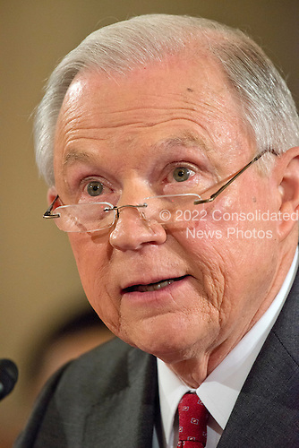 United States Senator Jeff Sessions (Republican of Alabama) delivers his opening statement during the US Senate Judiciary Committee confirmation hearing on his nomination to be Attorney General of the United States on Capitol Hill in Washington, DC on Tuesday, January 10, 2017.<br /> Credit: Ron Sachs / CNP