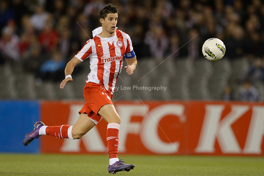 MELBOURNE, AUSTRALIA - MAY 19: Kevin Mirallas of Olympiakos chases the ball during a match between Melbourne Victory and Olympiakos FC at Etihad Stadium on 19 May 2012 in Melbourne, Australia. (Photo Sydney Low / AsteriskImages.com)