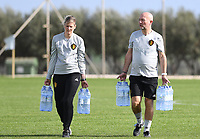 20190226 - LARNACA , CYPRUS :  Belgian team manager Rudy Vanderelst (r) pictured with Saar Nevejans during a Matchday -1 training from The Belgian Red Flames prior to their game against the women team of Slovakia , on Tuesday 26 February 2019 at the Alpha Sports Grounds in Larnaca , Cyprus . This will be the first game in group C for Belgium during the Cyprus Womens Cup 2019 , a prestigious women soccer tournament as a preparation on the European Championship 2021 qualification duels. PHOTO SPORTPIX.BE | DAVID CATRY