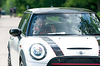 21st May 2020, Manchester, England;  Manchester United's Bruno Fernandes leaves the club s Carrington training ground in Manchester, Britain on May 21, 2020. The Premier League clubs were allowed to start small-group training from Tuesday after the top-flight football league in England was suspended on March 13 due to COVID-19 outbreak.