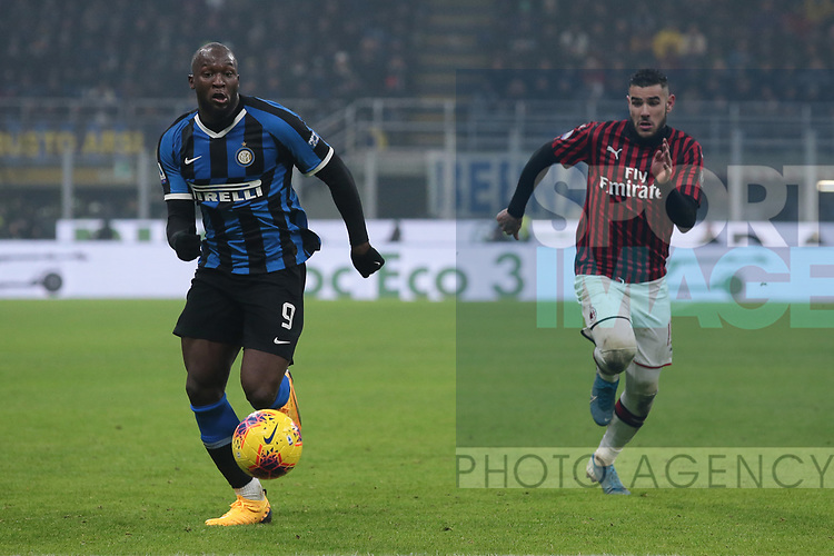 Romelu Lukaku of Inter races after the ball with Theo Hernandez of AC Milan during the Serie A match at Giuseppe Meazza, Milan. Picture date: 9th February 2020. Picture credit should read: Jonathan Moscrop/Sportimage