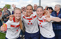 20170514 - LILLE , FRANCE : LOSC's Silke Demeyere (left) , Jana Coryn (right) and Maud Coutereels pictured celebrating the Championship title after their win in the 21 st competition game between the women teams of Lille OSC and La Roche Sur Yon in the 2016-2017 season of the Second Division A D2F A at stade Lille Metropole , Saturday 14th May 2017 ,  PHOTO Joke Vuylsteke | Sportpix.Be