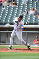 ***Temporary Unedited Reference File***Pensacola Blue Wahoos designated hitter Donald Lutz (34) during a game against the Birmingham Barons on May 2, 2016 at Regions Field in Birmingham, Alabama.  Pensacola defeated Birmingham 6-3.  (Mike Janes/Four Seam Images)