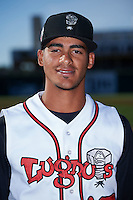 Lansing Lugnuts pitcher Jesus Tinoco (17) poses for a photo before a game against the Peoria Chiefs on June 6, 2015 at Cooley Law School Stadium in Lansing, Michigan.  Lansing defeated Peoria 6-2.  (Mike Janes/Four Seam Images)