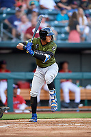 Biloxi Shuckers first baseman Jake Gatewood (3) at bat during a game against the Jacksonville Jumbo Shrimp on June 8, 2018 at Baseball Grounds of Jacksonville in Jacksonville, Florida.  Biloxi defeated Jacksonville 5-3.  (Mike Janes/Four Seam Images)