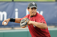 May 27, 2008: Catcher Francisco Pena (6) of the Savannah Sand Gnats, Class A affiliate of the New York Mets, prior to a game against the Greenville Drive at Fluor Field at the West End in Greenville, S.C. Photo by:  Tom Priddy/Four Seam Images