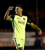 Exeter City's Ollie Watkins makes it 1-0 to the visitors during the Sky Bet League 2 match between Crawley Town and Exeter City at Broadfield Stadium, Crawley, England on 28 February 2017. Photo by Carlton Myrie / PRiME Media Images.