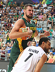 07.09.2014. Barcelona, Spain. 2014 FIBA Basketball World Cup, round of 16. Picture show J. Valanciunas and M. Vukona  in action during game between New Zealand   v  Lithuania at Palau St. Jordi