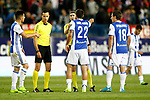 Real Sociedad's Yuri Berchiche (l), Raul Navas (c) and Mikel Oyarzabal have words with the referee Alberto Undiano Mallenco during La Liga match. April 4,2017. (ALTERPHOTOS/Acero)