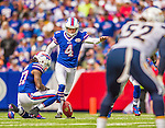 21 September 2014: Buffalo Bills kicker Jordan Gay kicks off after a Buffalo field goal in the second quarter against the San Diego Chargers at Ralph Wilson Stadium in Orchard Park, NY. The Chargers defeated the Bills 22-10 in AFC play. Mandatory Credit: Ed Wolfstein Photo *** RAW (NEF) Image File Available ***
