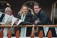 Greater London. United Kingdom, Cambridge Supporters, University Boat Races , Cambridge University vs Oxford University. Putney to Mortlake,  Championship Course, River Thames, London. <br /> <br /> Saturday  24.03.18<br /> <br /> [Mandatory Credit  Intersport Images]