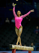 22nd March 2018, Arena Birmingham, Birmingham, England; Gymnastics World Cup, day two, womens competition; Margzetta Frazier (USA) on the Balance Beam during the warm up before the competition