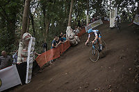 Michael Vanthourenhout (BEL/Marlux-NapoleonGames) leading on the steep descent<br /> <br /> Brico-cross Geraardsbergen 2016<br /> U23 + Elite Mens race