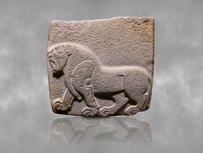 Aslantepe Hittite relief sculpted orthostat stone panel. Limestone, Aslantepe, Malatya, 1200-700 B.C. . Anatolian Civilisations Museum, Ankara, Turkey<br /> Depiction of a horse walking <br /> <br /> Against a grey art background.