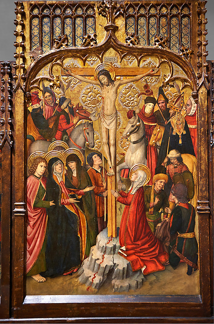 Gothic Catalan altarpiece of, left to right, the martydom of St Bartholomew, Calvaty and the deat of St Mary Magdelene, by Jaume Huguet, Barcelona circa 11465-1480, tempera and gold leaf on for wood, from the church of San Marti de Petegas de san Seloni, Valle Oriental, Spain.  National Museum of Catalan Art, Barcelona, Spain, inv no: MNAC   24365.
