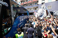 Napoli's supporters welcome SSC Napoli's coach at the arrival at San Paolo Stadium in Naples before the beginning of the Italian Serie A football match SSC Napoli vs Siena at San Paolo Stadium in NaplesNAPOLI CACIO FESTA QUALIFICAZIONE  CHAMPIONS