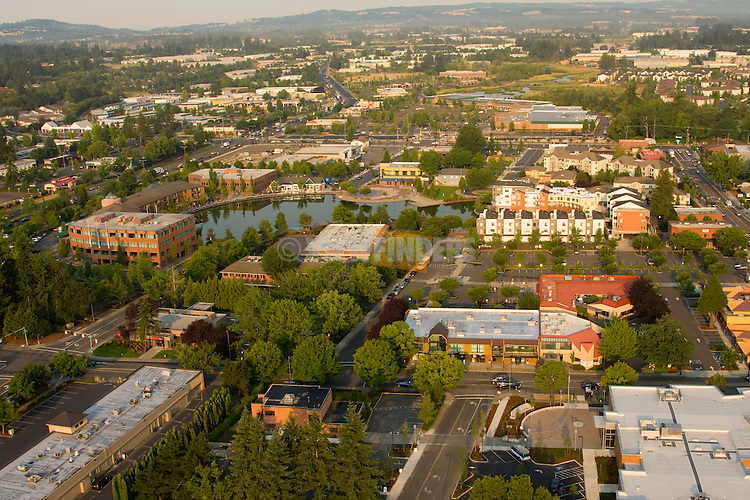Aerial of downtown Tigard business area, Oregon