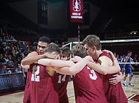 STANFORD, CA - March 2, 2019: Jaylen Jasper, Jordan Ewert, Paul Bischoff, Kyler Presho, Stephen Moye at Maples Pavilion. The Stanford Cardinal defeated BYU 25-20, 25-20, 22-25, 25-21.