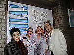 """Actors on Broadway and starred in Soap Operas - Mamma Mia's actors Alan Campbell (AW """"Evan Grant"""" & AMC) poses with Judy McLane (Guiding Light & AW) in poster and Lauren Cohn (L) on May 10, 2014 at the Broadhurst Theatre, New York City, New York.  (Photo by Sue Coflin/Max Photos)"""
