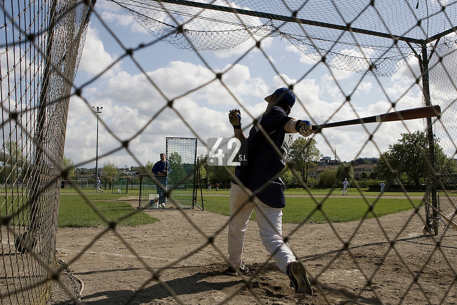 30 April 2008: Maxime Lefevre of France takes batting practice during the first of seven 2008 MLB European Academy Try-out Sessions throughout Europe, at Stade Kandy Nelson Ball Park, in Toulouse, France. Try-out sessions are run by members of the Major League Baseball Scouting Bureau with assistance from MLBI staff.