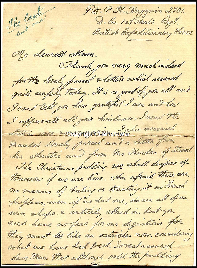 BNPS.co.uk (01202 558833)<br /> Pic: HertsAtWar/BNPS<br /> <br /> ***Please Use Full Byline*****<br /> <br /> The last letter Private Percy Huggins sent to his mother Agnes. <br /> <br /> A poignant footnote to the much heralded Xmas truce of 1914 has been revealed by a British historian who has uncovered a tragic tale that played out just yards from the famous event.<br /> <br /> Ruthless German snipers shot and killed two British soldiers in a tragic tit for tat while the famous Christmas Day truce of 1914 broke out around them, it can be revealed 100 years on.<br /> <br /> The historic ceasefire which saw men from both sides emerge from their trenches to exchange seasonal greetings and play games of football is one of the most enduring images of the First World War.<br /> <br /> But while the remarkable gesture of good will spread to many parts along the Western Front, the friendly festivities stopped half-a-mile short of the Rue De Bois near the French village of Festubert.<br /> <br /> There, the peace of Christmas morning was shattered by the piercing, solitary shot of a sniper's rifle fired from a German trench.