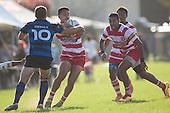 Kalione Hala cuts back infield past Luke Makris.<br /> Counties Manukau Premier Club Rugby game between Karaka and Onehwero played at Karaka Sports Park on Saturday May 7th 2016. Karaka won the game 46 - 9 after leading 20 - 9 at half time. Photo by Richard Spranger.