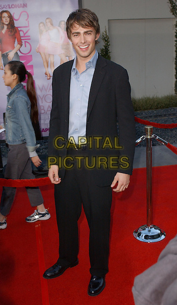 JONATHAN BENNETT.Attending the world premiere of Mean Girls at the Cinerama Dome, Hollywood, California..April 19th 2004.full length full-length smiling open collar blue shirt.*UK sales only*.www.capitalpictures.com.sales@capitalpictures.com.©Capital Pictures